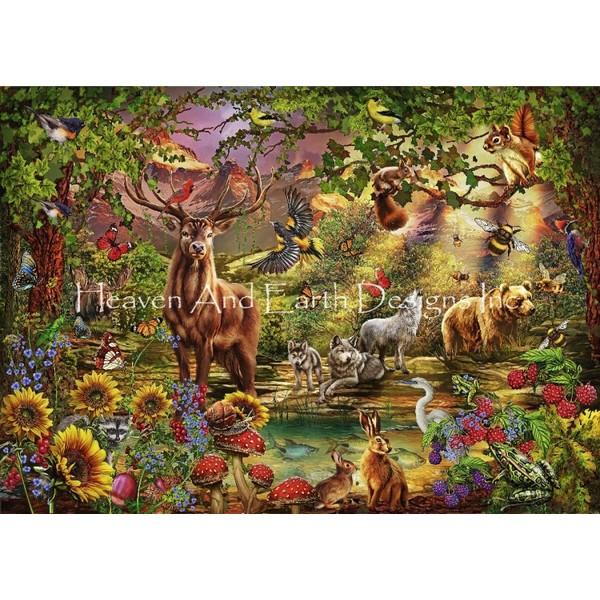 画像1: クロスステッチ図案Magik Forest-HAED(Heaven and Earth Designs) (1)