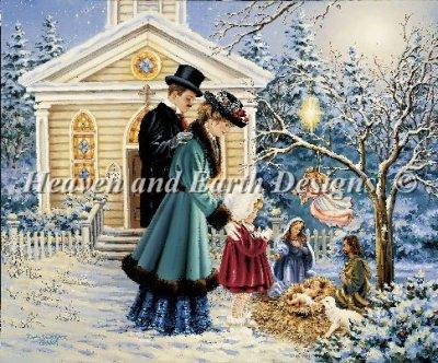 画像1: クロスステッチ キットA Christmas Prayer 25ctルガナ -HAED(Heaven and Earth Designs) (1)