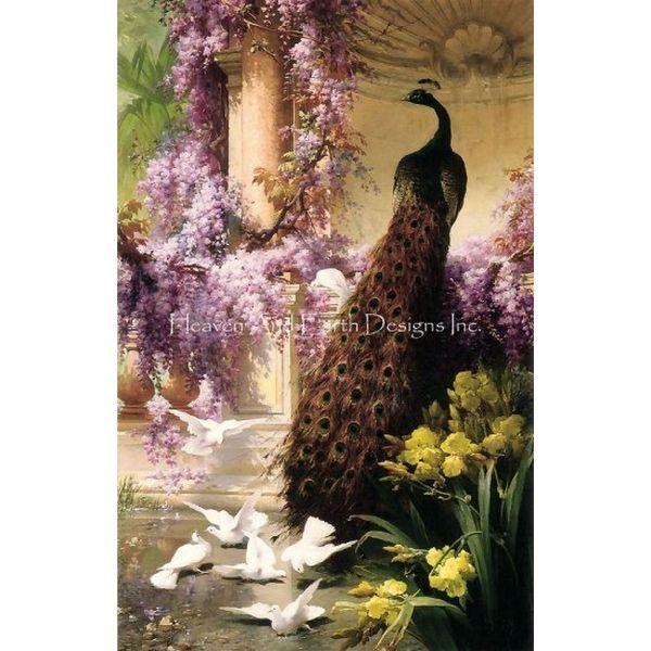 画像1: クロスステッチ図案A Peacock And Doves In A Garden Max Colors-HAED(Heaven and Earth Designs) (1)