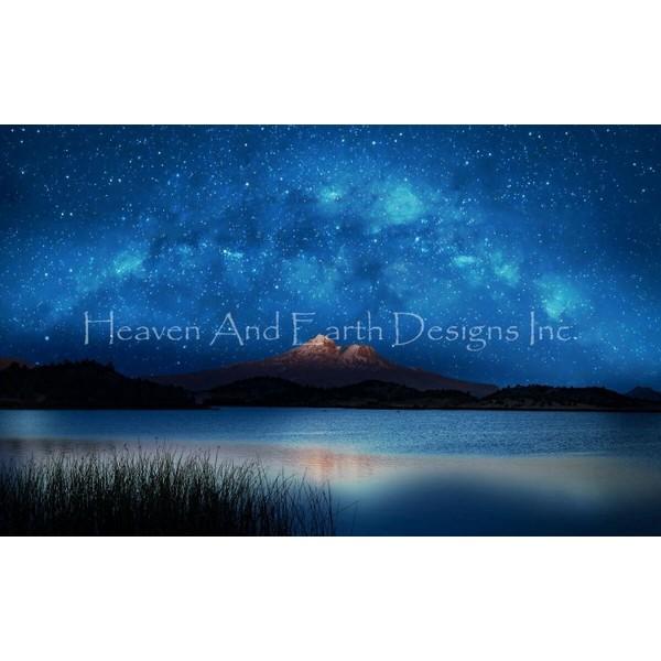 画像1: クロスステッチ キットshasta blue 28ctルガナ -HAED(Heaven and Earth Designs) (1)
