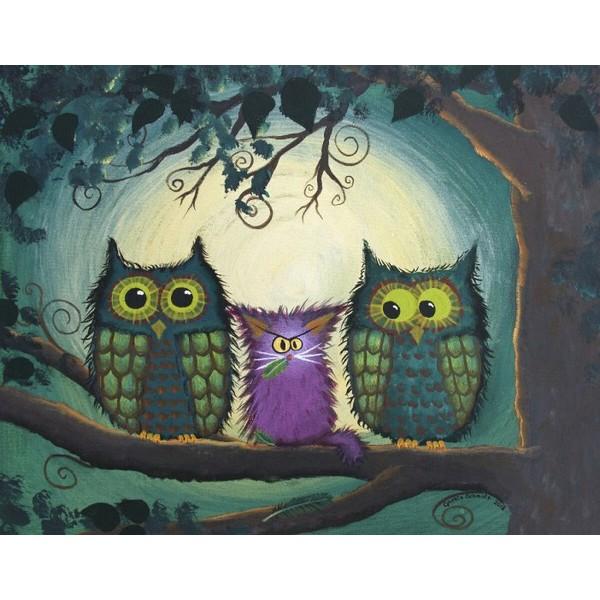 画像1: クロスステッチ図案Nervous Owls -HAED(Heaven and Earth Designs) (1)