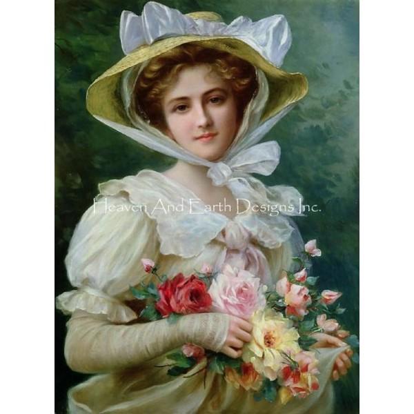 画像1: クロスステッチ図案Elegant Lady With A Bouquet -HAED(Heaven and Earth Designs) (1)