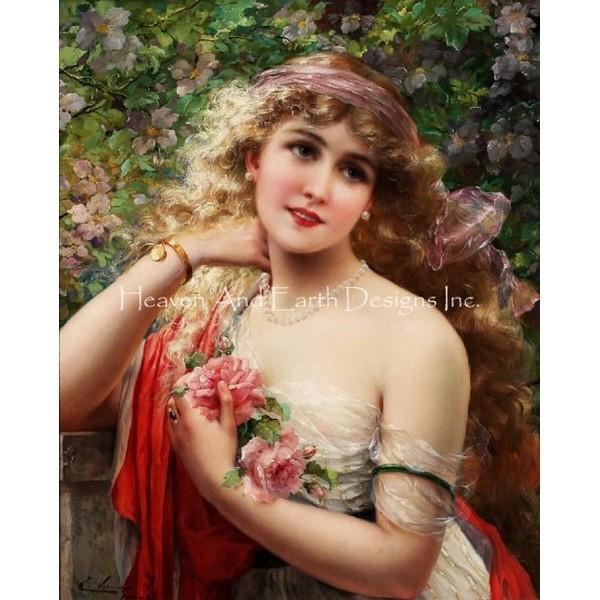 画像1: クロスステッチ図案Young Lady With Roses -HAED(Heaven and Earth Designs) (1)