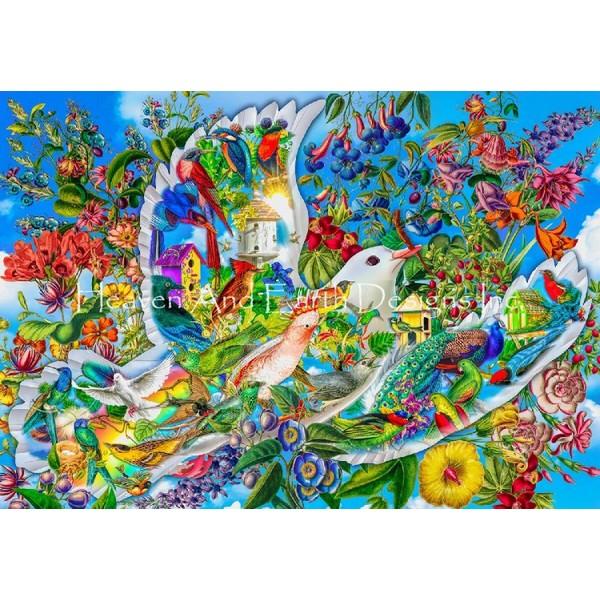 画像1: クロスステッチ キットDove of Hope 25ctルガナ -HAED(Heaven and Earth Designs) (1)