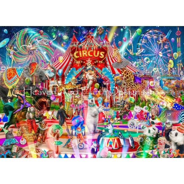 画像1: クロスステッチ キットA Night At The Circus 25ctルガナ -HAED(Heaven and Earth Designs) (1)