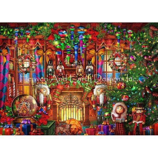画像1: クロスステッチ図案Christmas Two-HAED(Heaven and Earth Designs) (1)