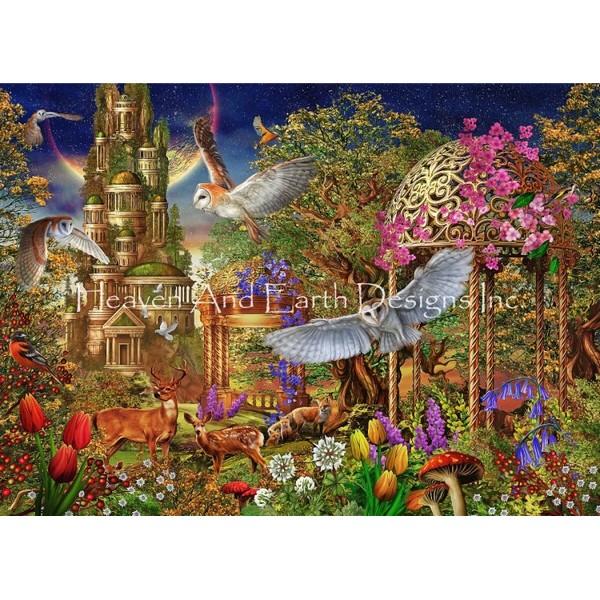 画像1: クロスステッチ キットOwl Tree 25ctルガナ -HAED(Heaven and Earth Designs) (1)