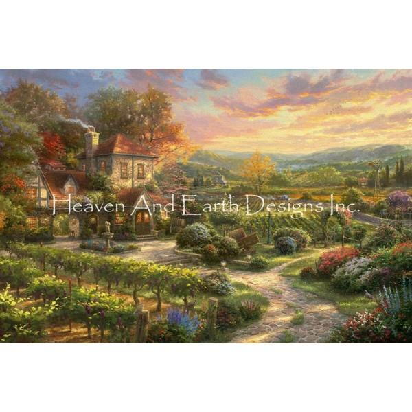 画像1: クロスステッチ キット 28ctルガナ [布+糸キット、図案無し]Supersized Wine Country Living Max Colors -HAED(Heaven and Earth Designs) (1)