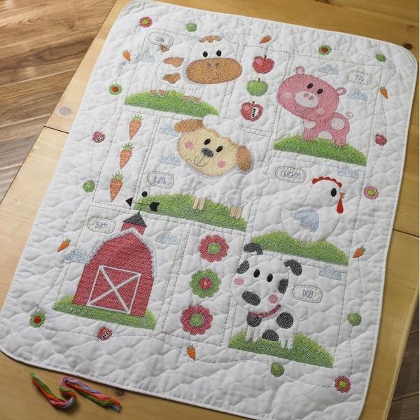 画像1: クロスステッチ キット Farm Animal Crib Cover ベビーベッドカバー-Bucilla (1)