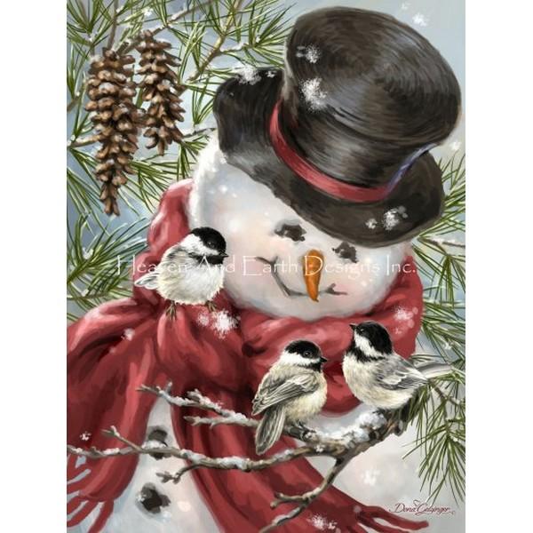 画像1: クロスステッチ図案 Snowman Snuggles-HAED(Heaven and Earth Designs) (1)
