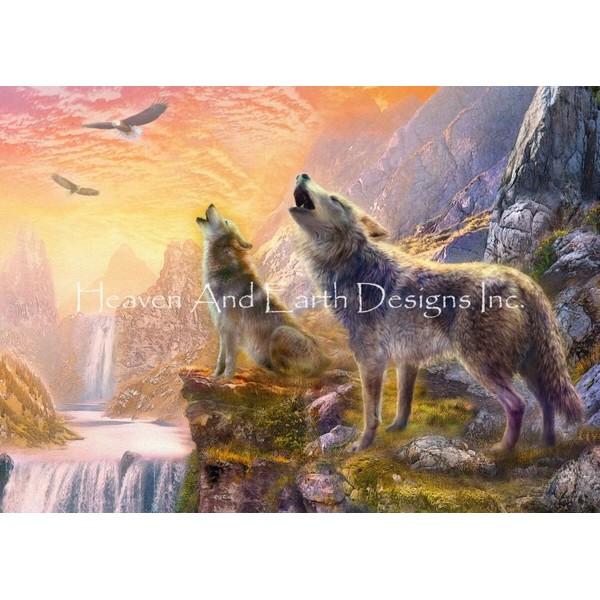 画像1: クロスステッチ図案 Sunset Howling Wolves-HAED(Heaven and Earth Designs) (1)