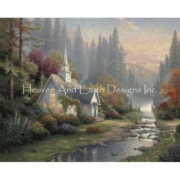 画像1: クロスステッチ キットThe Forest Chapel 25ctルガナ -HAED(Heaven and Earth Designs) (1)