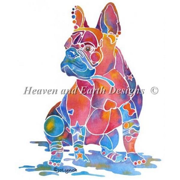画像1: クロスステッチ図案  French Bulldog-HAED(Heaven and Earth Designs) (1)