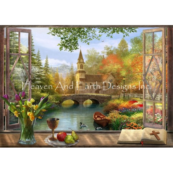 画像1: クロスステッチ キットAutumn Church Frame 25ctルガナ -HAED(Heaven and Earth Designs) (1)