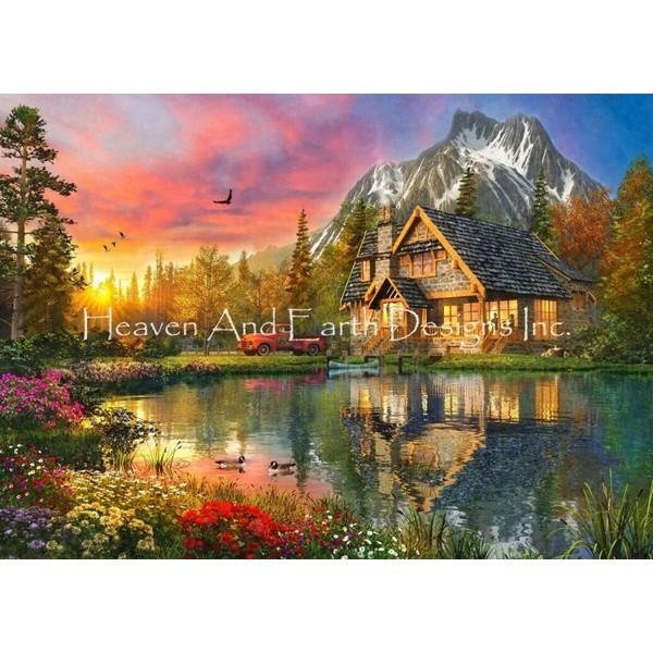 画像1: クロスステッチ キットThe Mountain Cabin 25ctルガナ -HAED(Heaven and Earth Designs) (1)