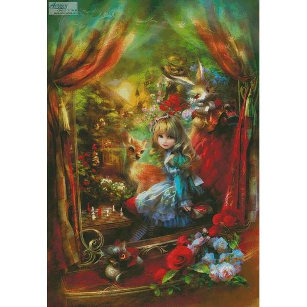 画像1: クロスステッチ図案 Alice Locomotion (Large) - Artecy 不思議の国のアリス (1)