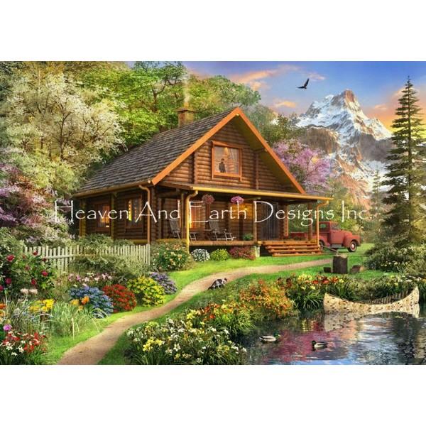 画像1: クロスステッチ図案Mini Log Cabin Home DD-HAED(Heaven and Earth Designs) (1)