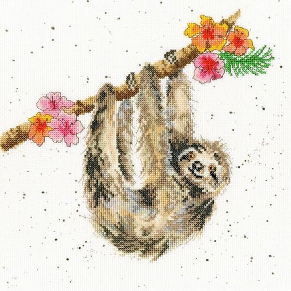 画像1: クロスステッチ キットHanging Around Sloth - Hannah Dale -Bothy Threads  (1)
