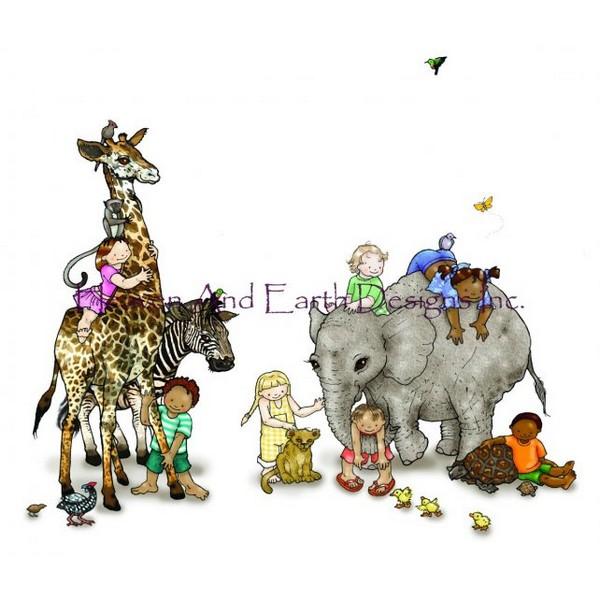 画像1: クロスステッチ図案  All The Animals - HAED(Heaven and Earth Designs) (1)