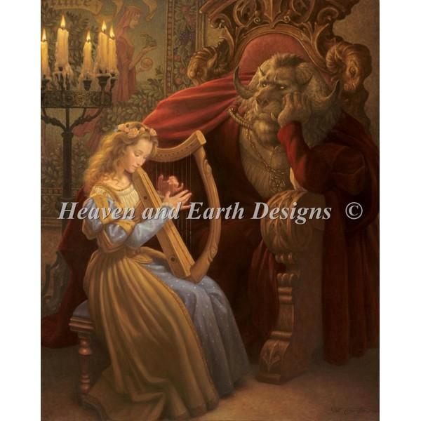 画像1: クロスステッチ図案  Beauty And The Beast Select A Size - HAED(Heaven and Earth Designs) (1)