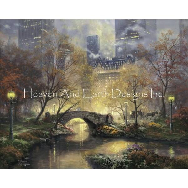 画像1: クロスステッチ図案  Central Park in the Fall Request A Size - HAED(Heaven and Earth Designs) (1)