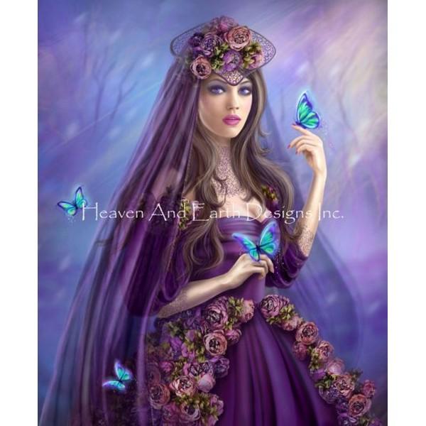 画像1: クロスステッチ図案Mini Woman And Butterfly-HAED(Heaven and Earth Designs) (1)