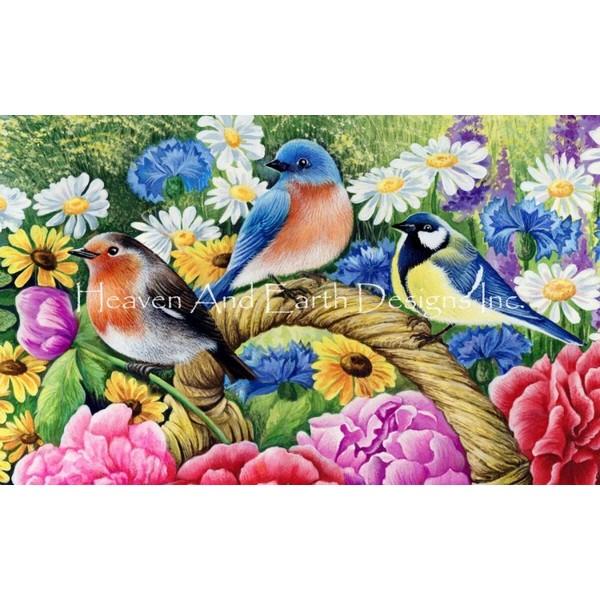 画像1: クロスステッチ図案 QS Swans Robin-Heaven and Earth Designs(HAED) (1)
