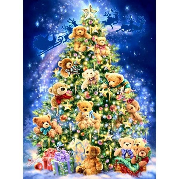 画像1: クロスステッチ図案  Teddy Bear Tree Max Colors-HAED(Heaven and Earth Designs) (1)
