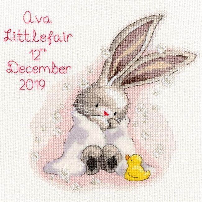 画像1: クロスステッチ キットBubbles Bunny Birth Sampler-Bothy Threads (1)