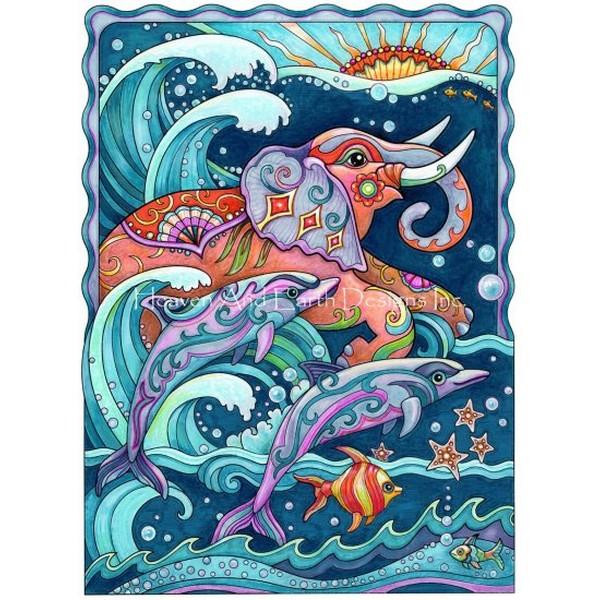 画像1: クロスステッチ図案  Elephant And Dolphins - HAED(Heaven and Earth Designs) (1)