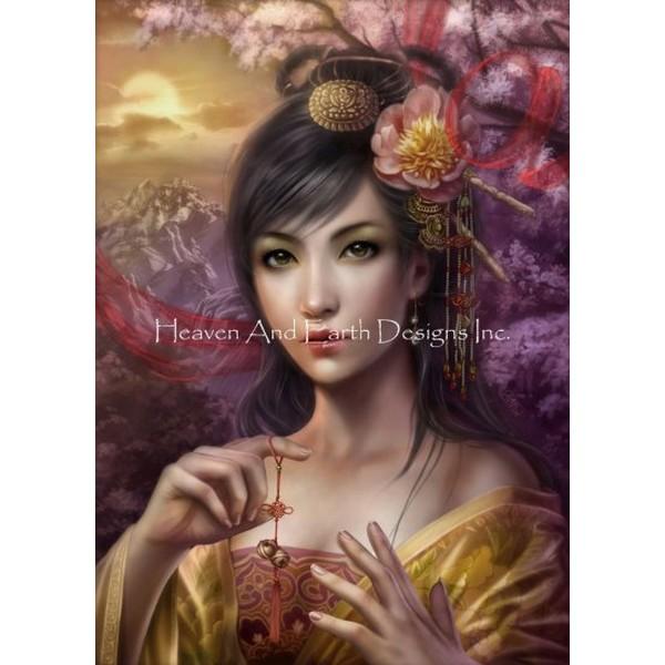 画像1: クロスステッチ キットSongs Under The Cherry Tree 25ctルガナ -HAED(Heaven and Earth Designs) (1)