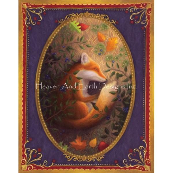 画像1: クロスステッチ図案 Fox Sleeping Max Colors-HAED(Heaven and Earth Designs) (1)