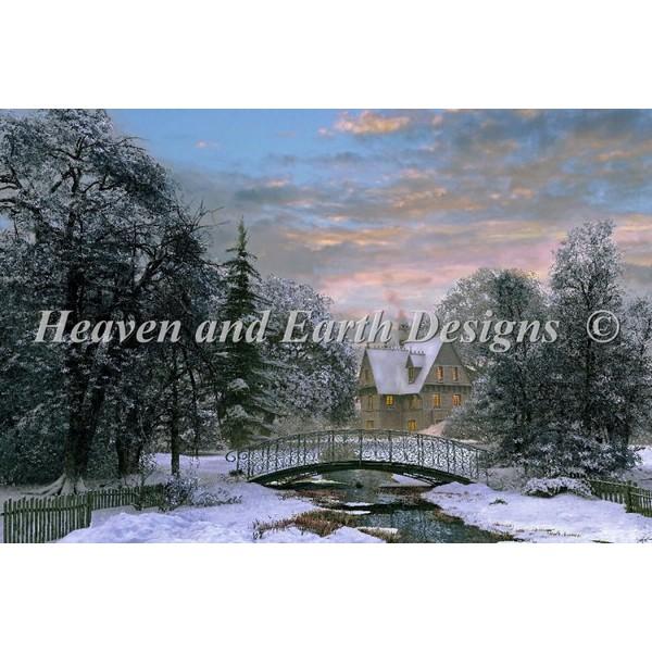 画像1: クロスステッチ キットSnow Scene Sunset 25ctルガナ -HAED(Heaven and Earth Designs) (1)