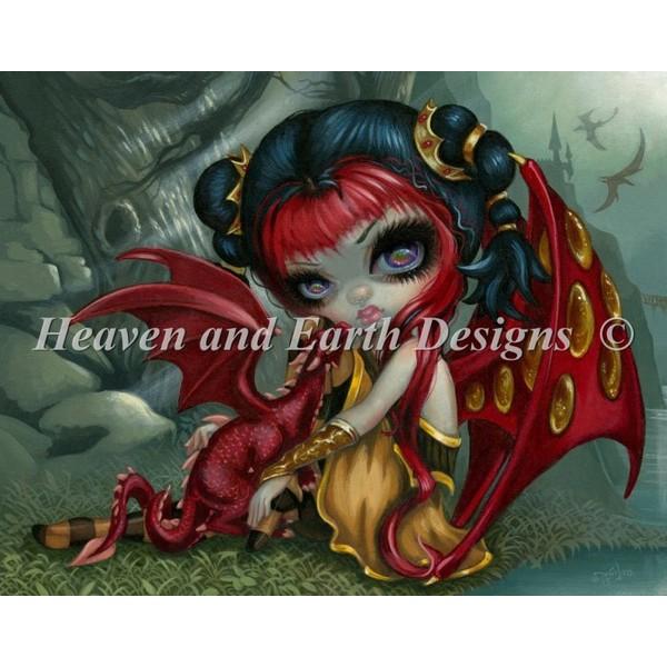 画像1: クロスステッチ図案 Amber Dragonling HAED(Heaven and Earth Designs) (1)