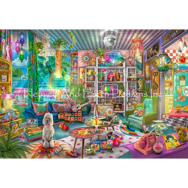 画像1: クロスステッチ キットKitschy Cute Collector 25ctルガナ -HAED(Heaven and Earth Designs) (1)