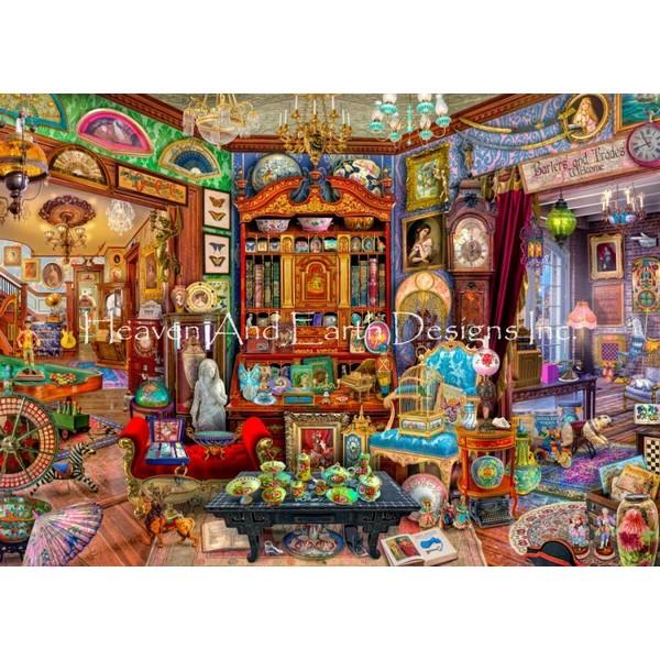 画像1: クロスステッチ キットThe Antique Shop 25ctルガナ -HAED(Heaven and Earth Designs) (1)
