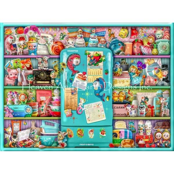画像1: クロスステッチ キットThe Kitschy Kitchen Shelf 25ctルガナ -HAED(Heaven and Earth Designs) (1)
