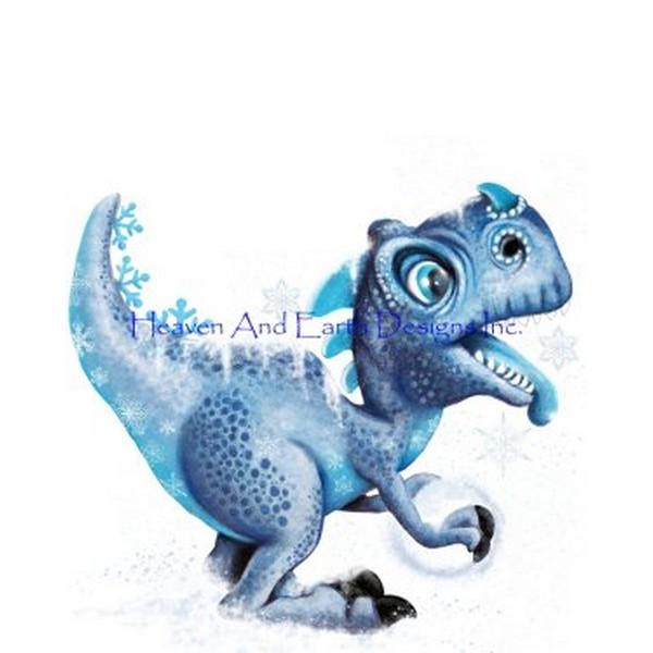 画像1: クロスステッチ図案 Winter T Rex Catching Snowflakes- HAED(Heaven and Earth Designs) (1)