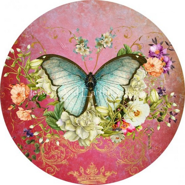 画像1: クロスステッチ キット Ornament Butterfly Port Mauve-HAED(Heaven And Earth Designs)  (1)