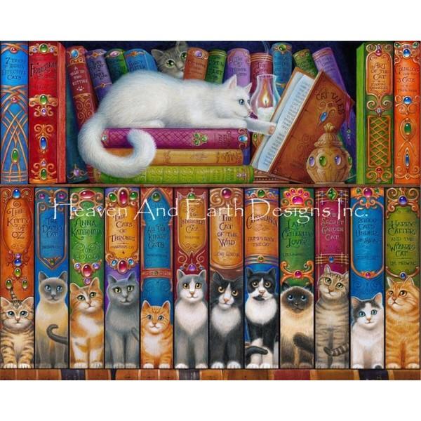 画像1: クロスステッチ図案Mini Cat Shelf Three-HAED(Heaven and Earth Designs) (1)