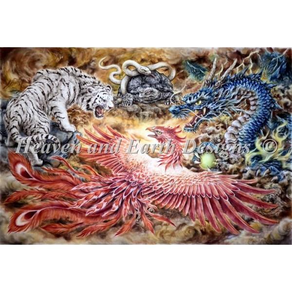 画像1: クロスステッチ図案Supersized Four Heavenly Beasts Max Colors-HAED(Heaven and Earth Designs) (1)