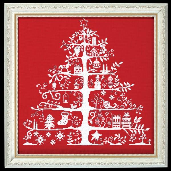 画像1: クロスステッチ キット額付き クリスマスツリー(レッド) - DMC  (1)