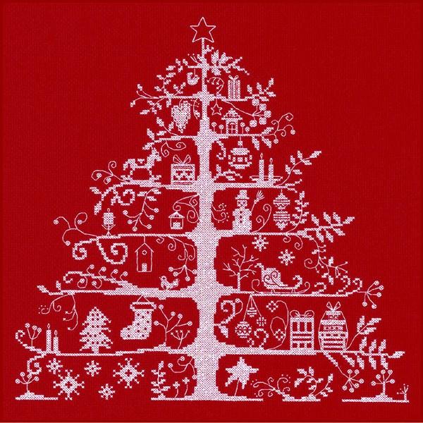 画像1: クロスステッチ キット クリスマスツリー(レッド) - DMC  (1)