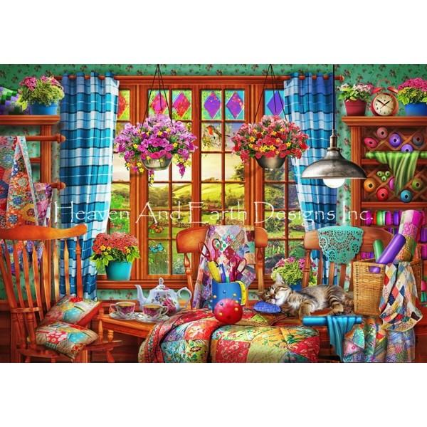 画像1: クロスステッチ キット Patchwork Quilt Room Max Colors 25ct - HAED(Heaven and Earth Designs) (1)