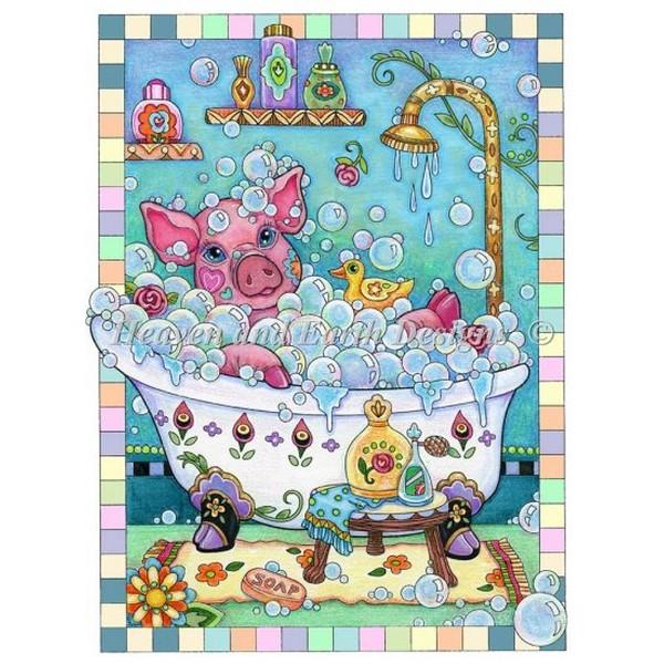 画像1: クロスステッチ図案  Piggy In A Bubble Bath-  HAED(Heaven and Earth Designs) (1)