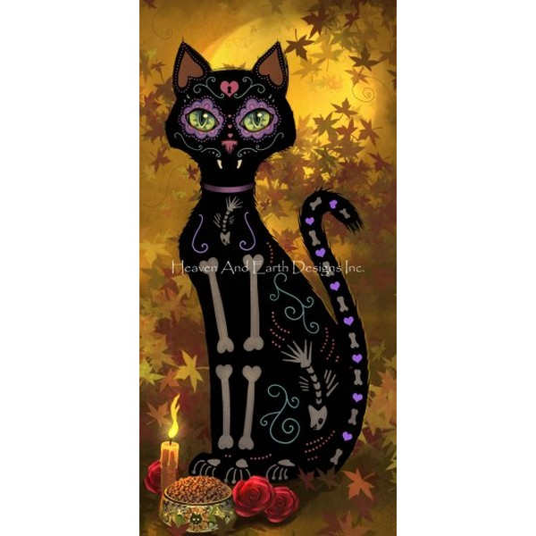 画像1: クロスステッチ図案  Autumn Day of the Dead Cat-  HAED(Heaven and Earth Designs) (1)