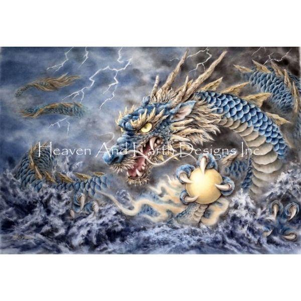 画像1: クロスステッチ図案 Blue Dragon Max Colors-HAED(Heaven and Earth Designs) (1)