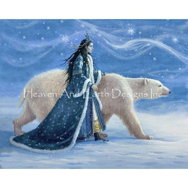 画像1: クロスステッチ キット Snow Princess And Polar Bear Max Colors 25ct - HAED(Heaven and Earth Designs) (1)