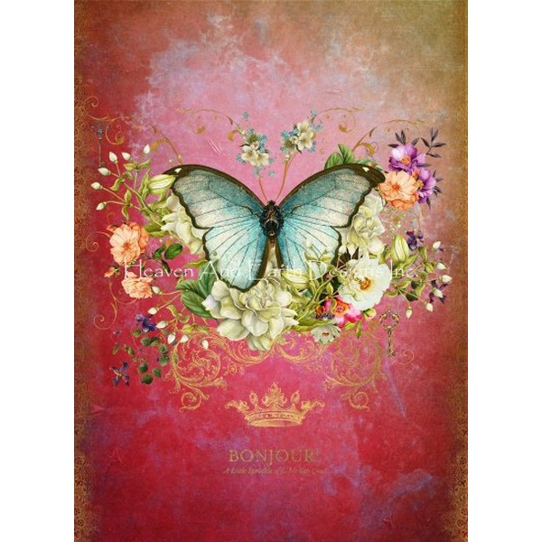画像1: クロスステッチ図案  Butterfly Port Mauve-  HAED(Heaven and Earth Designs) (1)