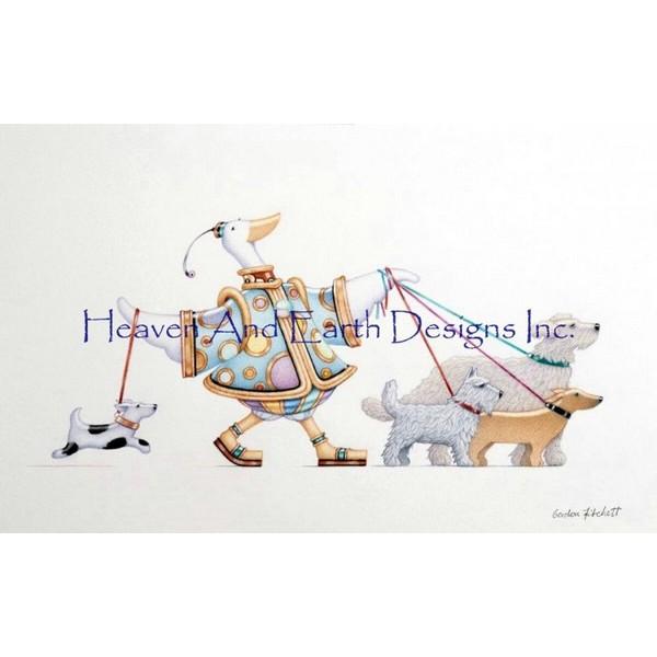 画像1: クロスステッチ図案  just walking the dog-  HAED(Heaven and Earth Designs) (1)